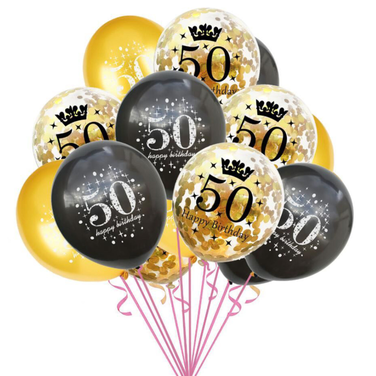 konfetti luftballon set f r 50 geburtstag feier party ballons gold schwarz ebay. Black Bedroom Furniture Sets. Home Design Ideas