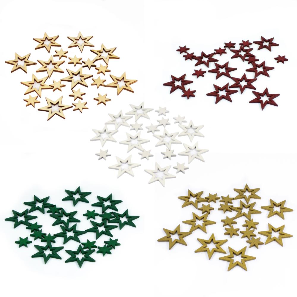 Stern Sterne Holz Holzstern  Tischdekoration Tischdeko 24St natur