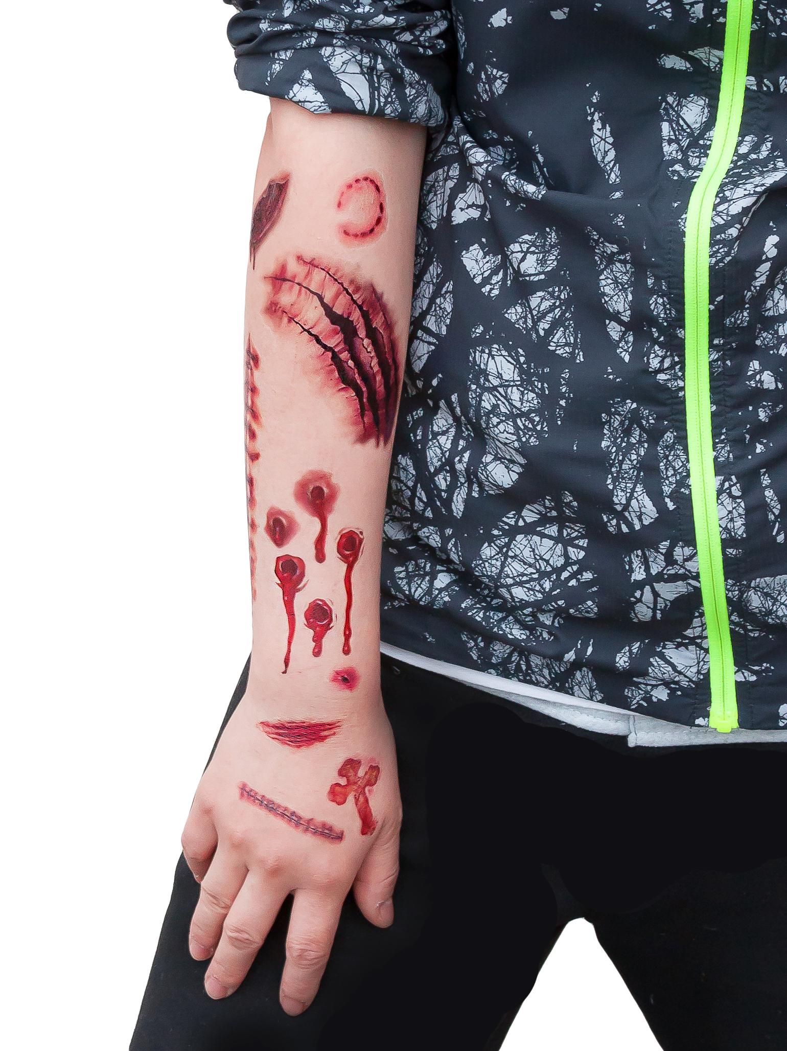 tattoos narben wunden horror ritzen halloween 40 realistisch aussehende motive ebay. Black Bedroom Furniture Sets. Home Design Ideas