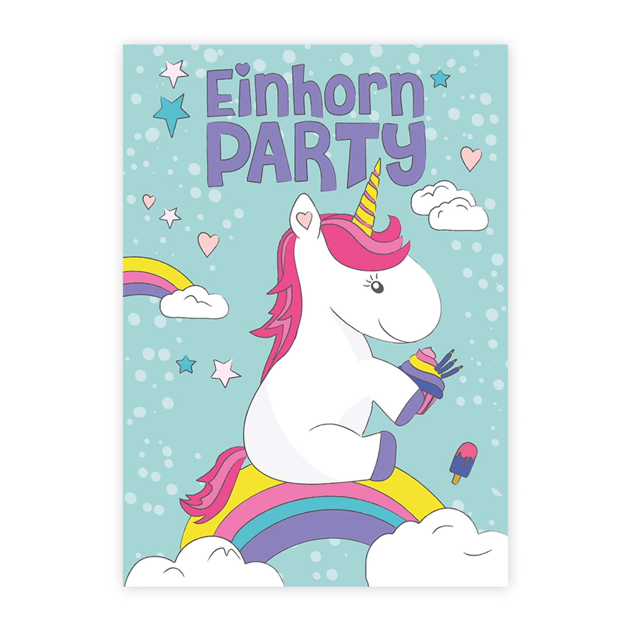 6 einladungskarten zur einhorn party einladungen einhörner
