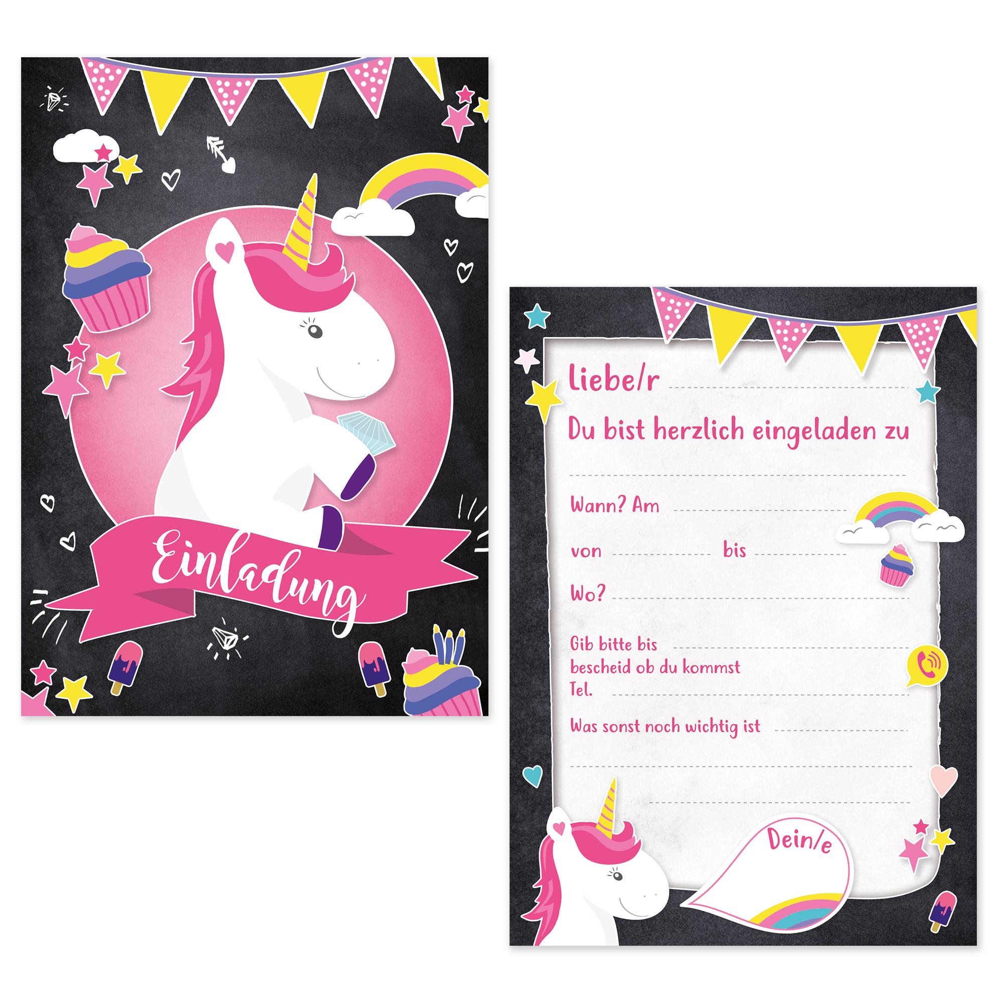 6 einladungskarten kindergeburtstag einhorn einladungen