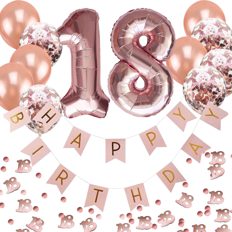 APERIL 18 Geburtstag Dekoration M/änner Bedruckte Silber Konfetti Luftballons Number Folienballon Zahl 18 Luftballons Tischdecke 10g Tischkonfetti Happy Birthday Girlande Banner Torten Deko